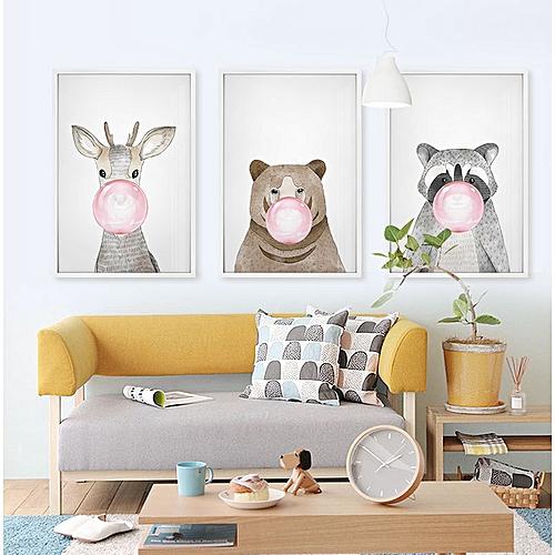 Qukau 3pcs 40 60cm Wall Painting Picture Mural Simple Hanging Painting Bedroom Wall Painting Small Fresh Cartoon Children S Room Fresco Animal Blowing