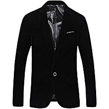 Men's Slim Fit Velvet Blazer - Black