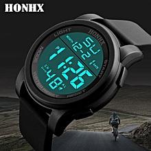 Luxury Male Analog Digital Military Army Sport LED Waterproof Wrist Watch-Black