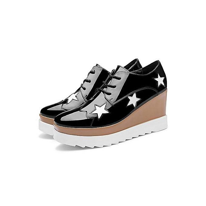 Free Shipping ! Platform 3 Cm / Shining Leather Women's Flat Platform  Casual Shoes 052 Black