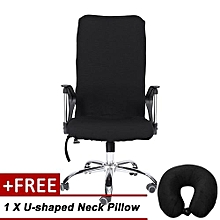 [Buy 1 Get 1 Free U-shaped Neck Pillow ] Removable Stretch Swivel Chair Covers Comfortable Slipcovers (Black S)