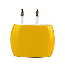 2A Dual USB Ports Home Wall Travel AC Power Charger Adapter for iPhone 6S EU-Yellow