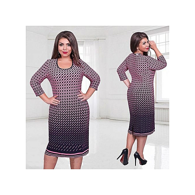 a3b5d1902c2 L-6XL Plus Size Women Clothing Elegant Office Work Dress Women Spring O  Neck Large