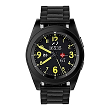 Bluetooth 4.0 Smart Watch Heart Rate Monitor Sports Tracker for Android iOS (Metal Strap) - Black