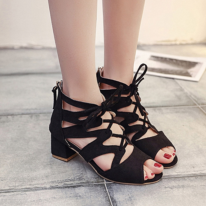 1251a05f164 shioakp Fashion Women Ladies Sandals Ankle Square Heels Block Party Open  Toe Shoes-Black ...