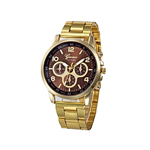 Geneva Women Faux Leather Analog Quartz Wrist Watch-Brown