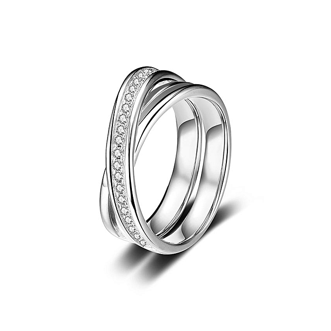8228966399ca7 925 Sterling Silver Ring Zirconia Cross-shaped Wedding Engagement Ring  Proposal Bridal Halo Replacement