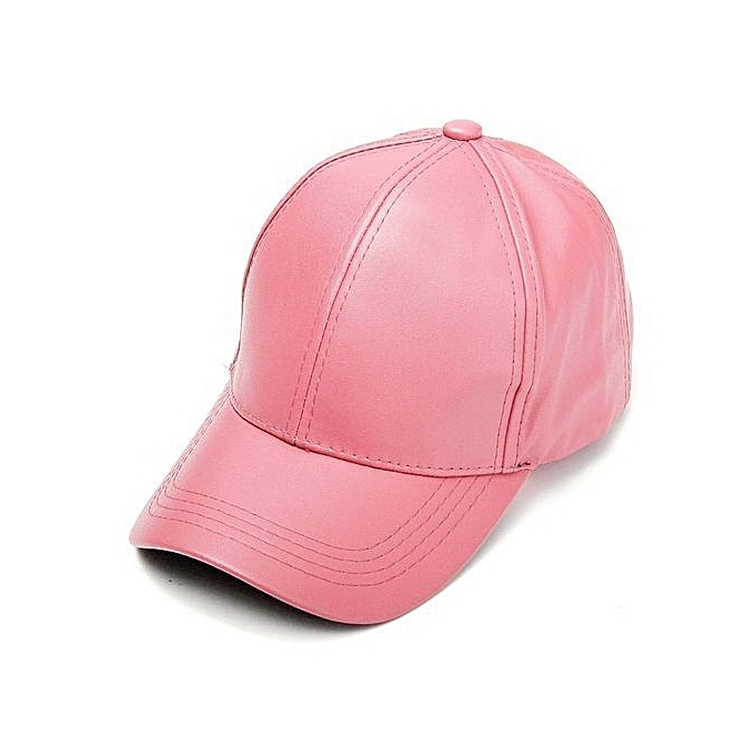 Unisex Men Women Soft Leather Baseball Cap Biker Adjustable Outdoor Sports  Hats Pink e8fd59a989c