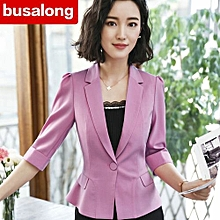 RefinedNew Korean Version Of The Summer Casual Sleeves Small Suit Jacket Ladies Overalls Are Slimming Body Was Thin-pink-S