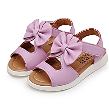 jiuhap store Summer Kids Children Sandals Fashion Bowknot Girls Flat Pricness Shoes -Purple