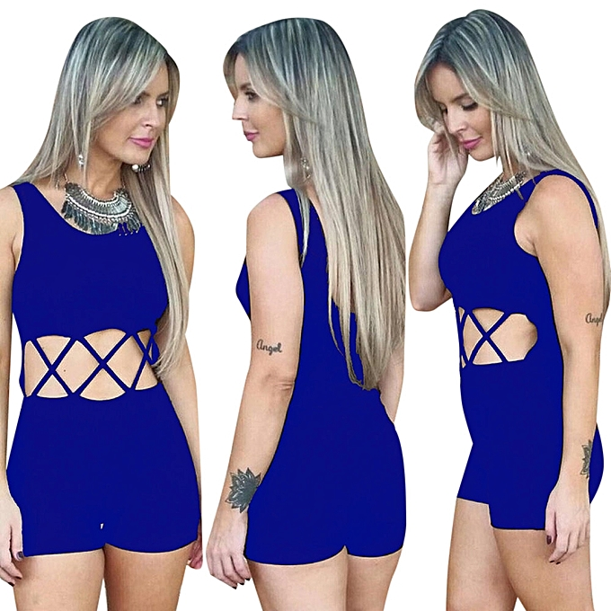 3b4f4ffeed0 Fashion Women Hollow Short JumpSuit - Blue   Best Price