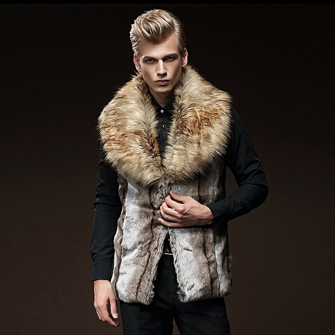 fb5592216ae jiuhap store Men Faux Fur Vest Jacket Sleeveless Winter Body Warm Coat Long  Waistcoat Gilet-