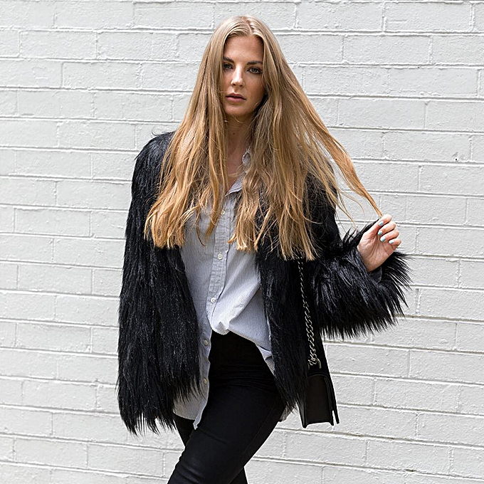 885203a49b Winter Women Faux Fur Coat Solid Color Long Sleeve Fluffy Outerwear Short  Jacket Hairy Warm Overcoat