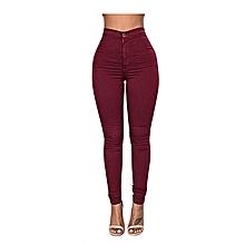 Maroon High Waist Jeans