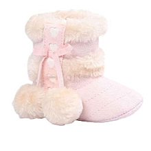 bluerdream-Baby Soft Sole Snow Boots Soft Crib Shoes Toddler Boots - Pink