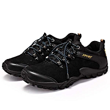Men Sprot Running Shoes Leather Round Toe Lace Up Hiking Shoes Anti Slip