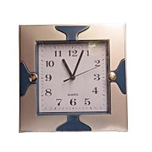 Wall Clock Square Quartz  - Grey & Blue