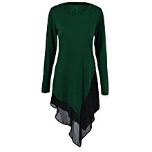 Chiffon Trim Asymmetrical Long Blouse - Deep Green