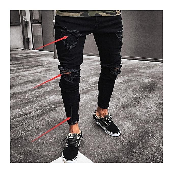 Generic New Men S Skinny Jeans Hole Elastic Zipper Men S Feet Pants