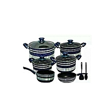 Generic Non Stick Cooking Pots - 12 Pieces - Blue