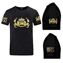 Muay Thai Short Sleeve Cotton T-shirt For Men - Black