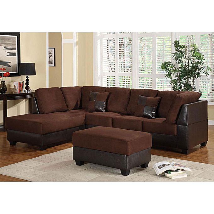 Superior Furniture L-Shape 6 Seater + Ottoman (Brown