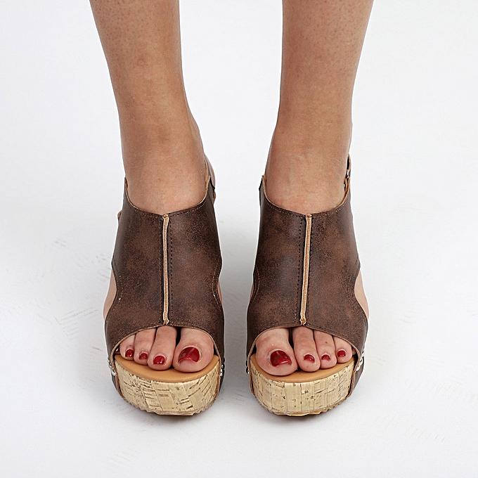 edcc44ac9b1912 ... Xiuxingzi Women Summer Round Toe Breathable Rivet Beach Sandals Boho  Casual Wedges Shoes ...
