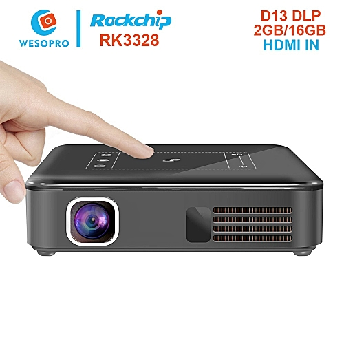 Android 7 1 Pocket Mini Projector D13 Smart TV Box TouchPad Pico DLP  Portable LED WIFI 8000mAh Battery Home Theater QLANA