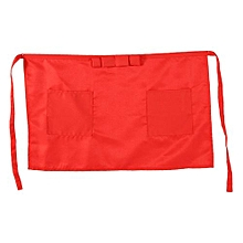 Solid Color Kitchen Cooking Half Waist Apron With Bowknot And Two Pockets Red