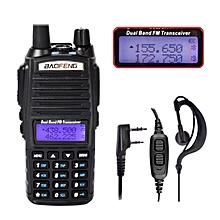 BAOFENG UV-82 Black UHF VHF Walkie Talkie 137-174/400-520MHz FM Two-Way Radio + PTT Earpiece