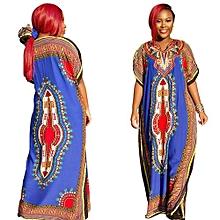 Popular 2017 Vintage Women's Dashiki Dress Petal Sleeve O-neck African Print Maxi Vestidos African Long Dresses For Women -blue