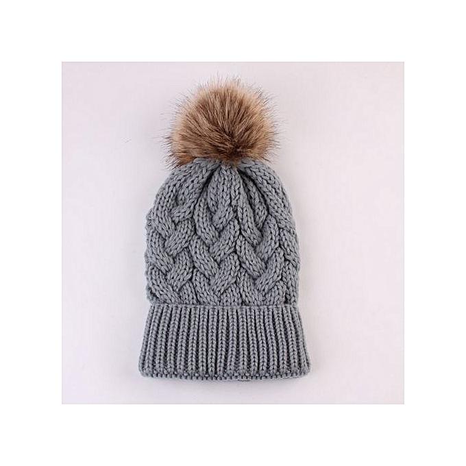4cac1e3ce2b Wenrenmok Store Women Fashion Keep Warm Winter Hats Knitted Wool Hemming  Hat-Gray