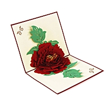 Peony 3D Pop Up Romantic Cards Birthday Anniversary Laser Cut Flower red