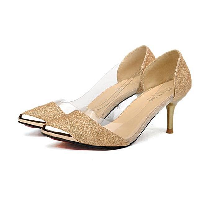 024e19b2fde4 Women Casual Pointed Toe Pumps High Heels Wedding Shoes Pumps GD 37-Gold-