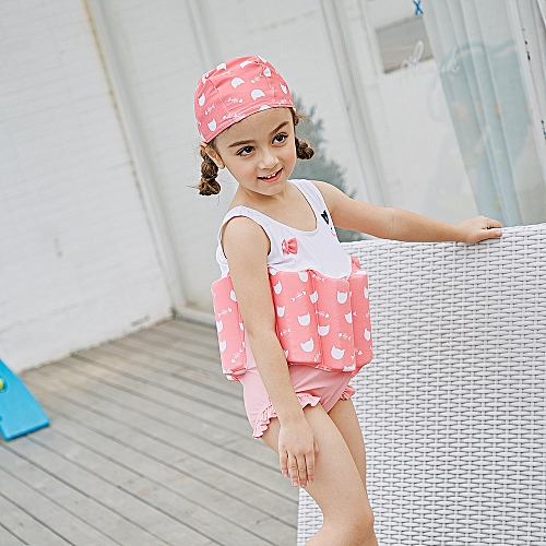 69c44eb53ec6d Generic Girl One-Piece Float Swimsuit+Cap+Arm Ring Stylish Cute Swimwear  With Removable Buoyancy Perfect for Kid Learn to Swim Pink 110cm