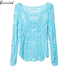Women Scoop See-Through Blouse - Blue