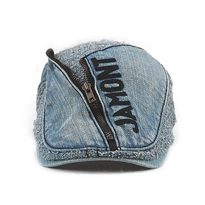 8d5060d0 ... Unisex Cotton Denim Jeans Washed Beret Hat Paper Boy Zipper Decorative  Duckbill Buckle Cabbie Cap ...
