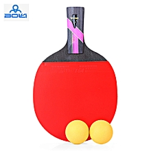 Three Star Outdoor Table Tennis Rubber Ping Pong Racket with Ball - Red