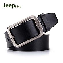 Men Leather Belt Fashionable Pin-Buckle Leisure Manufacturer Cowhide Belt Black 110CM