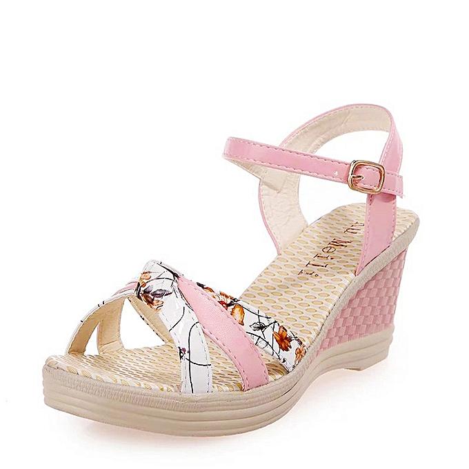 f0c02ba78abe jiuhap store Ladies Women Wedges Shoes Summer Sandals Platform Toe High- Heeled Shoes-Pink
