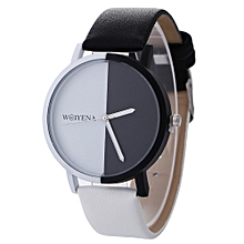 Neutral Black And White Pattern Fashion Leather Quartz Wrist Watch