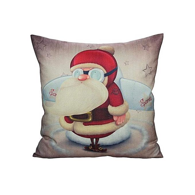 02fb0e6c4b ... Santa Christmas Decor Throw Pillow Covers Case Decorative Retro Xmas  Cushion Linen Decoration Vintage Square 18x18 ...