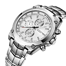 Watches, 8025 Men Full Steel Business Wristwatches Casual Waterproof Quartz Watches - Silver