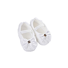 bluerdream-Toddler Kid Baby Girl Rose Bowknot Elastic Band Newborn Walking Shoes WH 11- White