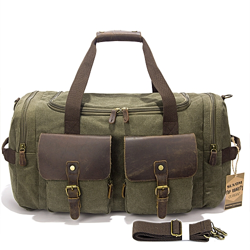 cb6053e0db4 BlueLife Multi-pockets Canvas Leather Holdall Bags for Travel - Army Green