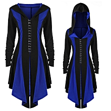 Africanmall store Womens Hoodies Irregular Back Bandage Coat Hooded Parka Overcoat Jacket Outwear-Blue