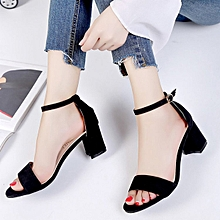 TB Vintage Open Toe Ankle Strap Fashion Summer High Heel Women Casual Sandals Black