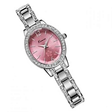 Elegant Oval Pink Dial Watch + Free Gift Box