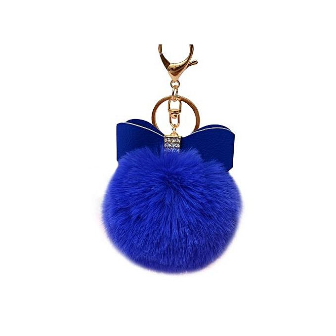 8175e13f1aca Braveayong Fluffy Faux Rabbit Fur Ball Bowknot Charm Car Keychain Handbag  Key Ring BU -Blue