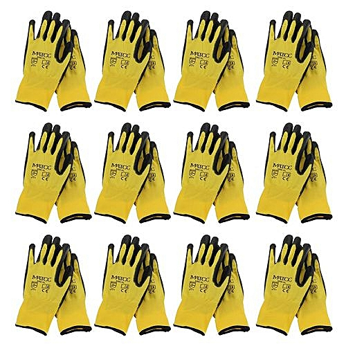 8b40b5aad39ff Generic 12Pairs PU Nitrile Coated Safety Work Gloves Garden Builders Grip  Anti-slip Size XL